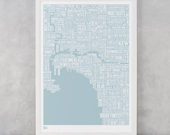 Melbourne Type Map Screen Print, Melbourne Type Map, Melbourne Word Map, Melbourne Font Map, Melbourne Artwork, Melbourne Wall Poster