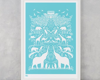 Noah's Ark Screen Print, Animal Screen Print, Kids Wall Poster, Boat Wall Poster, Baby Nursery Wall Decor, Ark Wall Poster, Animal Print