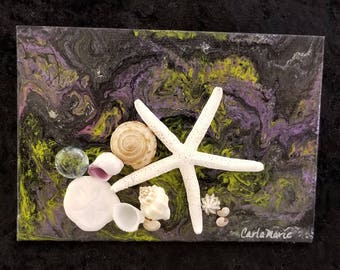 "Dark Seas - Acrylic Pour Painting with Seashell Accents - 7"" x 5"" - READY TO SHIP - Handmade - Nautical - Purple, Lime Green, Black & Silver"