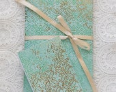 Green and Gold Boho Traveler's Notebook with Pockets Insert Gift Set