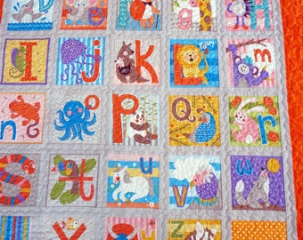 ABC, Alpahbet Quilt & Pillow for Baby, Toddler, Girl, Boy, Crib Qult, TV Snuggling Time