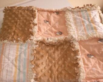 Hedgehog woodland baby rag quilt