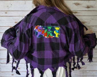 Grateful Dead Braided Fringe Steal Your Face Dead Head Dancing Bears Bear Plaid Flannel Button Up Shirt Womens One Size
