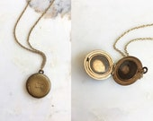 Victorian Brass Hair Locket | antique petite brass necklace | mourning locket necklace