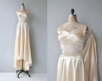 Archetyphia wedding gown   vintage 1940s wedding dress   silk satin 40s wedding dress