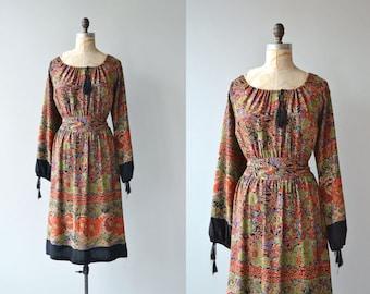 Akkadevi dress | vintage 1970s dress | black floral 70s peasant dress