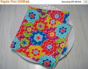 ON SALE Cloth Napkins Floral Bright Colors Set of 4
