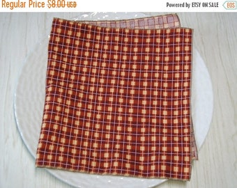 SALE Cloth Napkins Plaid Rust Brown Tan Set of 4