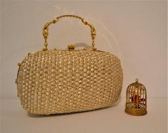 Vintage Gladys Golden Italian Queen of Straw Handbag