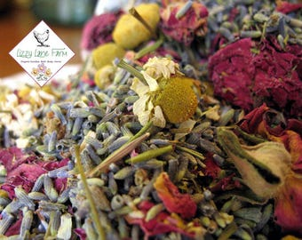 Potpourri Herbal Blend, Organic Chamomile, Lavender and Red Roses- Bulk (8 ounces) make scented sachets, bath tea & bridal shower favors