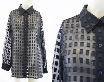 Vintage Sheer Top / Woman's Blouse / Retro / Black Shirt / Button Down / Oversize / 90's