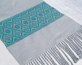 64 Inch Handwoven Table Runner Hand Woven Coffee Table Runner Buffet Scarf Overshot Woven Table Runner Gray and Aquamarine Table Runner
