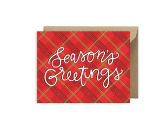 Season's Greetings Hand Lettered Christmas Card