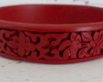 Vintage Asian Carved Cinnabar Bracelet