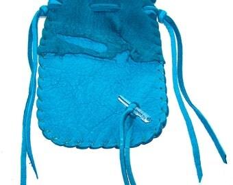 Leather Medicine Bag...TURQUOISE