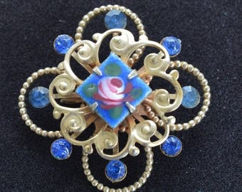 ON SALE Pretty Vintage Royal Blue Enamel Rose, Rhinestone Brooch, Gold tone (O4)