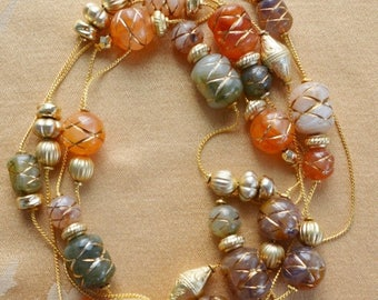 "ON SALE Beautiful Vintage Orange, Brown, Beige Plastic Beaded Long Necklace, Gold tone, 74"" (K13)"