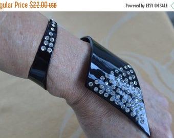 ON SALE Pretty Vintage Black Plastic, Rhinestone Wrap Bracelet, Retro