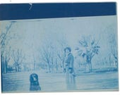 Cyanotype. A woman and her dog.