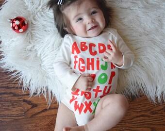 Joy - hand printed organic, long sleeve winter bodysuit, great gift for baby shower