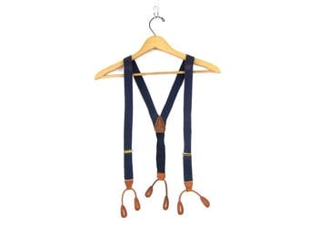 Blue Tab Suspenders Tan Brown Leather Tabs Retro Hipster Men's Belt button clasps Hipster Steampunk Old Fashioned Belt Button Braces Straps
