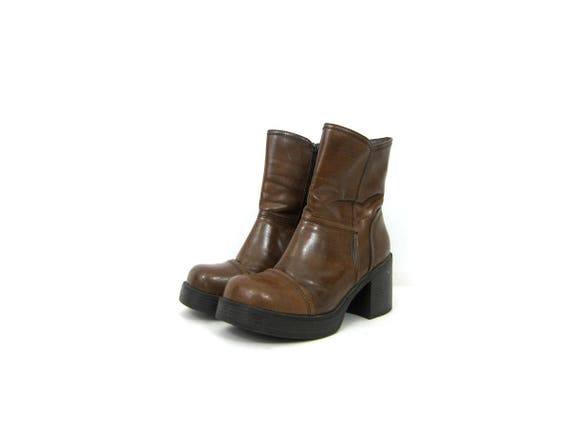 Chunky Brown Boots vintage 90s Mid Calf boots high heel boots Gothic Grunge Side zipper fashion boots Womens Shoes Size 9