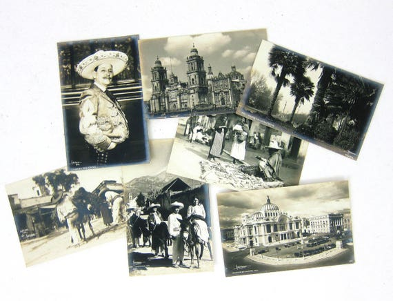 7 Mexico Postcards Vintage Black and White Photo Postcards Stationary Cards Lot Letters Travel Souvenir Collectibles Paper Ephemera