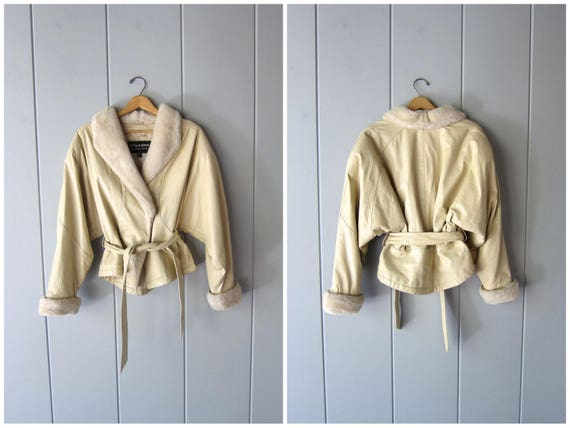 Vintage 80s Leather Bomber Jacket Cropped Cream Leather Belted Coat Sherpa Collar Slouchy Batwing Motorcycle Biker Wrap Coat Womens Medium