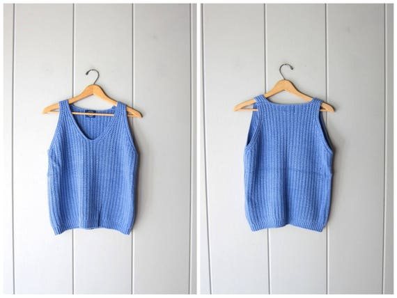 Blue Knit Shell Top 90s Cotton Knit Sleeveless Sweater Top Preppy Cropped Tank Top Thick Knit Vintage Basic Tank GAP Womens Small Medium