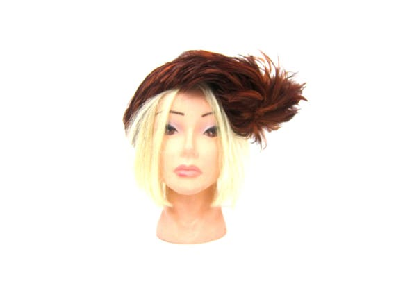 Vintage Feather Hat Brown Womens Dress Hat Mid Century Mad Men Fall Fashion Hat with Feathers