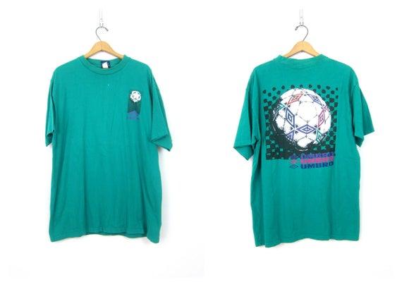 Green UMBRO Tshirt 90s Soccer Tee Distressed Cotton Shirt Sporty Oversized Novelty Shirt Urban Hipster Unisex size XL