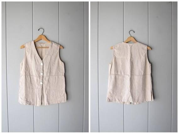 Linen Blouse Beige Button Up Top Sleeveless Shirt Minimal Blouse Linen Tank Top with Seashell Buttons Vintage 90s Blouse Womens Medium