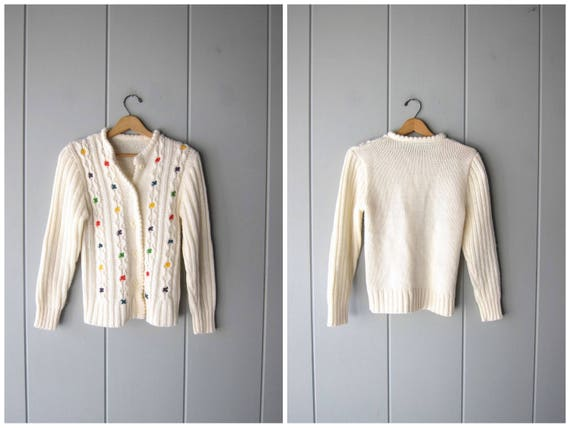 80s White Sweater Button Up Cardigan Colorful Speckled Knit CHUNKY Ribbed Knit Sweater Vintage Preppy Novelty Button Up Sweater Women Medium