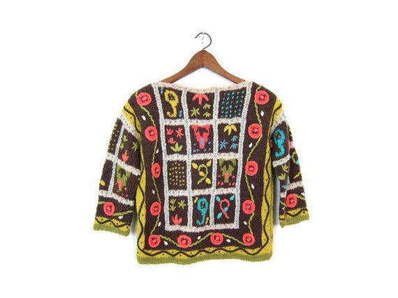 60s Sweater Floral Knit Colorful Folk Wool Sweater ILARIA Made in Italy Mid Century Sweater Vintage Hand Made Boucle Sweater Womens Medium