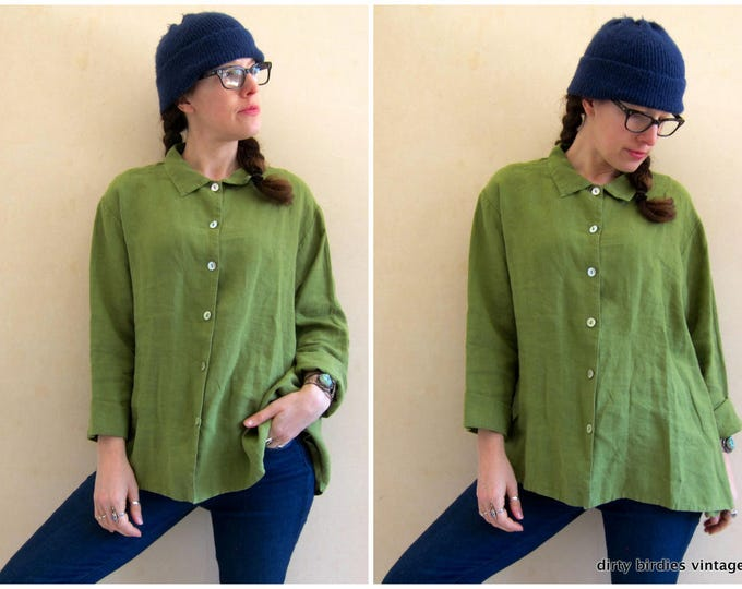 Olive Green Linen Blouse | Oversized Linen Shirt| Vintage 90s Minimal Billowy Boxy Blouse Top Button Up Womens Large