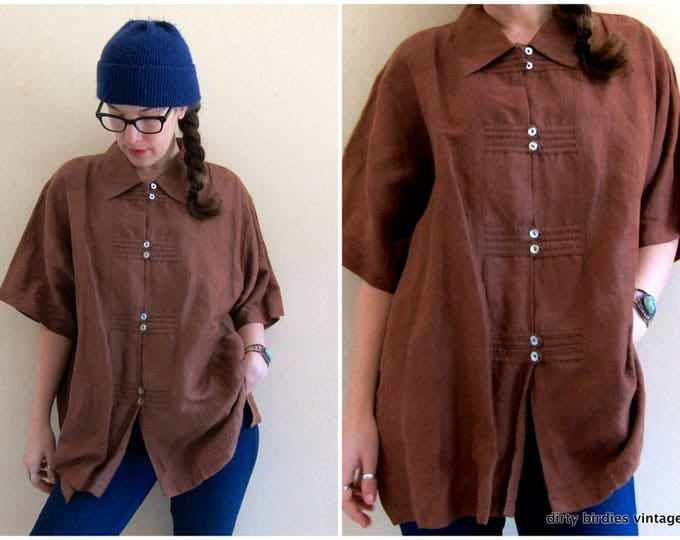 Thai Silk Shirt | Oversized Minimal Blouse | Vintage 90s Brown Silk Top | Slouchy Kimono Shirt Shell Buttons Modern Womens 2XL XXL