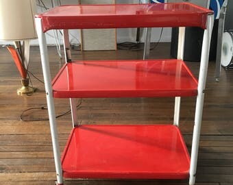 Vintage 1950s Cherry Red Rolling Metal Kitchen Cart
