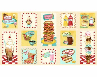 "24"" Fabric Panel - Wilmington Prints At the Diner 1950s Food Blocks Cream"