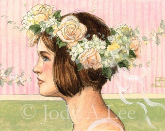Girl with Flower Wreath Original Oil Painting