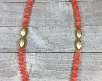 Orange And Gold Necklace - Beaded Single Strand Multi Color Necklace - Milky Beaded Statement Necklace - Tangerine Single Layer Necklace -