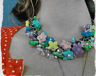 Chunky colorful statement necklace, clay flower necklace, collar necklace