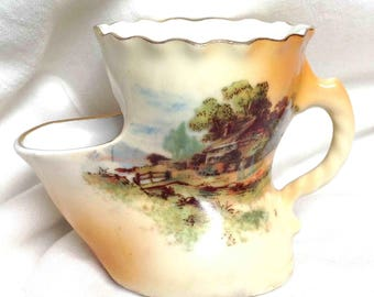 Mini Shaving Mug Scuttle Country Cottage Scene  Skuttle Shape - 2 inches - Czechoslovakia - Romantic Antique for the Miniature Collector