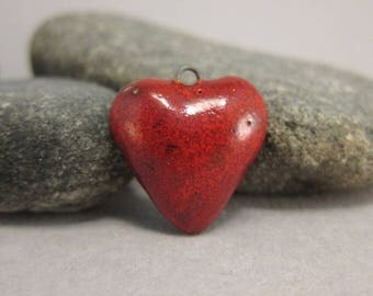 Tiny Raku Heart in Sunset Red
