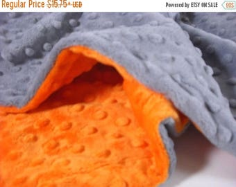 SALE Orange and Gray Minky Dot Baby Blanket,  Can Be Personalized