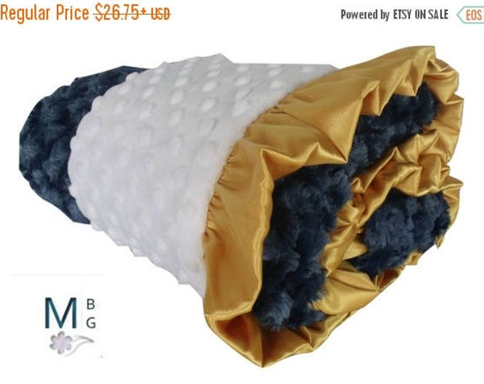 SALE Gold and Navy Minky Baby Blanket, Gold Ruffled, 3 SizesCan Be Personalized