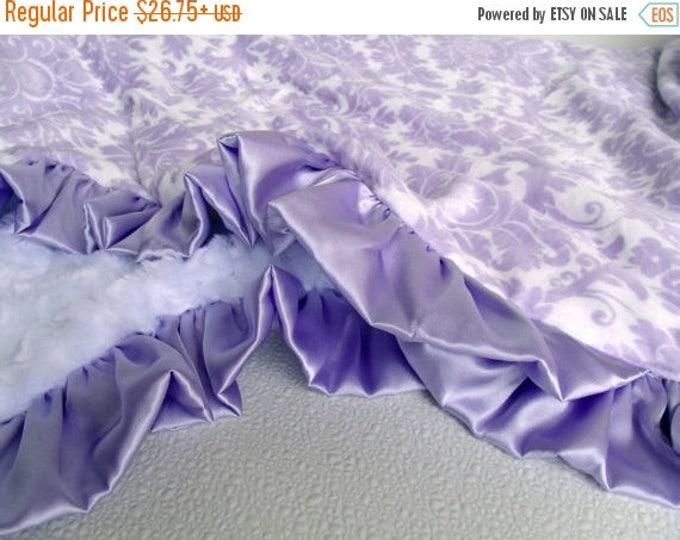 SALE Lavender Damask Minky Baby Blanket Shown With White Rose SwirlCan Be Personalized