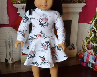 18 inch Doll Clothes - Mock Turtleneck Dress - Bright Floral - Roses - WHITE PINK GREEN - fits American Girl