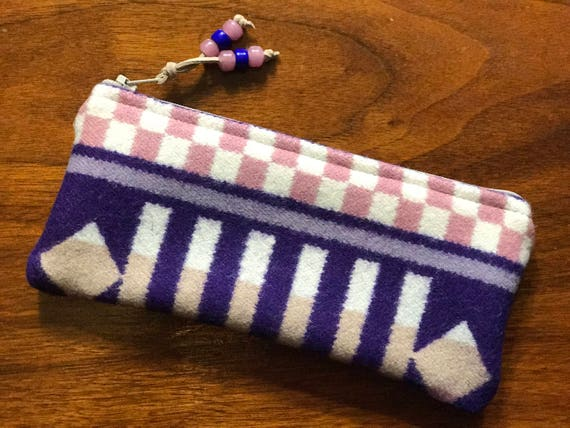Wool Sunglasses Case / Glasses  Case / Tampon Case / Zippered Pouch Purple & Pink