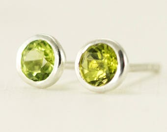 Peridot Studs - Bezel Set August Birthstone Earrings - 4mm Sterling Post Earrings