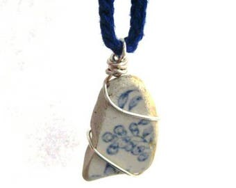 Blue Sea Pottery Necklace. Beach Botanics